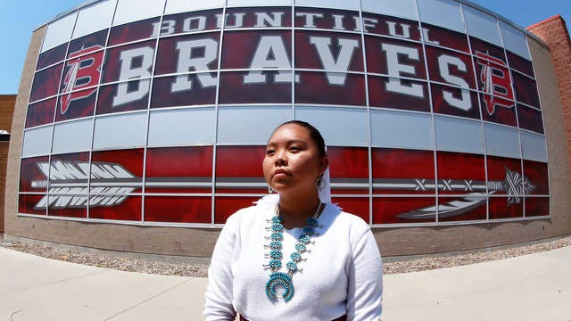 Lemiley Lane, a Bountiful junior who grew up in the Navajo Nation in Arizona, poses for a photograph at Bountiful High School on July 21 in Bountiful, Utah. While advocates have made strides in getting Native American symbols and names changed in sports, they say there's still work to do mainly at the high school level, where mascots like Braves, Indians, Warriors, Chiefs and Redskins persist.