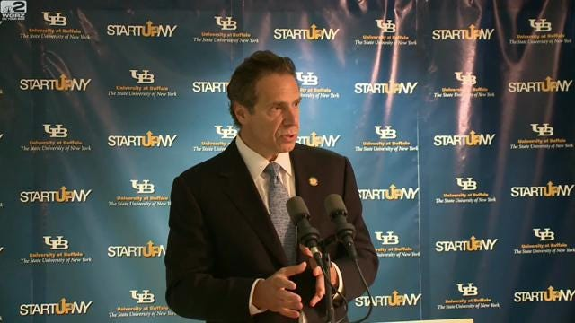 Gov. Andrew Cuomo, at University of Buffalo on Monday, discussion ongoing questions about interference by his office into the Moreland Commission to Investigate Public Corruption.