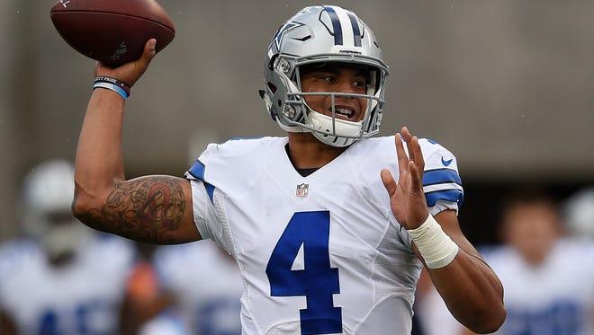 Dallas Cowboys quarterback Dak Prescott (4) throws the ball during the first quarter against the San Francisco 49ers at Levi's Stadium.