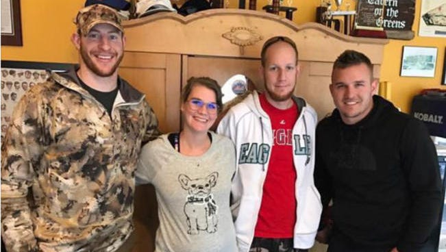 Eagles quarterback Carson Wentz, left, and Los Angeles Angels star Mike Trout, right, went hunting together last Friday in New Jersey.