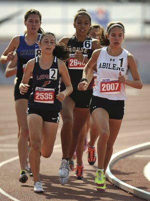 Thomas Metthe/Reporter-News Abilene High's Ashton Endsley (2007) runs the curve ahead of the pack in the Class 6A girls 3,200m during the UIL Track and Field State Championships on Friday, May 13, 2015, at Mike A. Myers Stadium in Austin.