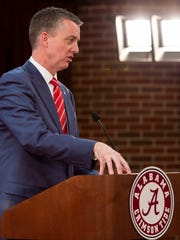 Alabama athletic director Greg Byrne talks with the media about the coaching search after Nate Oats was introduced as the new NCAA college basketball coach for the University of Alabama, Thursday, March 28, 2019, in Tuscaloosa, Ala. (AP Photo/Vasha Hunt)