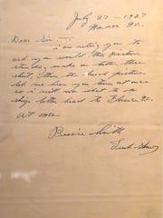 Bessie SmithÕs letter Ð this is a letter handwritten