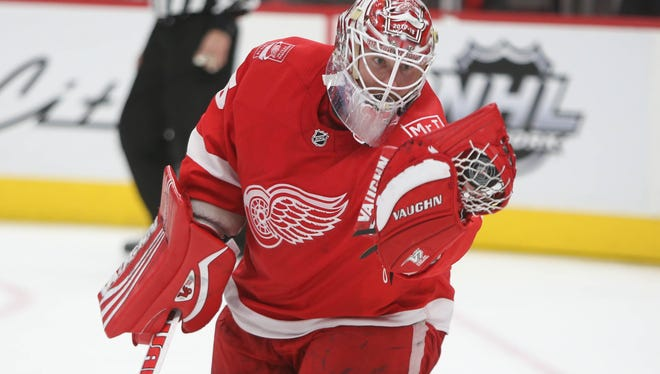 Detroit Red Wings goalie Jimmy Howard makes a save against the Florida Panthers during second period action Friday, January 5, 2018 at Little Caesars Arena in  Detroit.