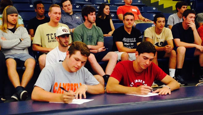 Roberson seniors Trenton Davis (Campbell) and Nate Fore (Belmont Abbey) have signed to play college baseball.