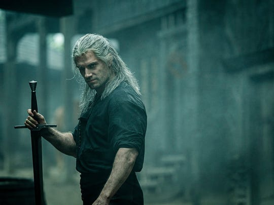 Henry Cavill as Geralt of Rivia in a scene from the Netflix original series  The Witcher .