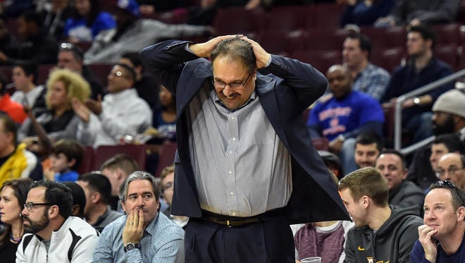 Detroit Pistons head coach Stan Van Gundy reacts to a missed shot during the fourth quarter of the game against the Philadelphia 76ers at the Wells Fargo Center. The Sixers beat the Pistons 89-69.