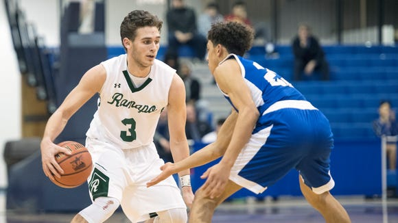 Ramapo and Teaneck in the Bergen County Jamboree boys basketball tournament quarterfinal at the FDU Rothman Center in Hackensack on Friday, February 9, 2018. R #3 Jason Oppler in the fourth quarter.
