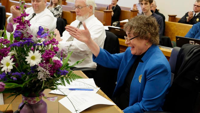 Mary Lynne Donahue reacts to being named the council president at city hall Tuesday April 19, 2016 in Sheboygan.