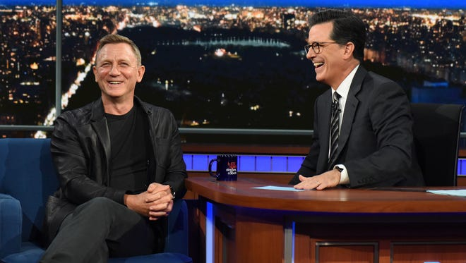 "Daniel Craig appears on ""The Late Show with Stephen Colbert"" on Tuesday, Aug. 15, 2007."