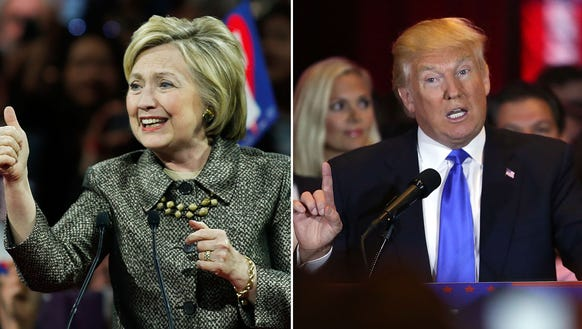 Hillary Clinton and Donald Trump speak at their respective