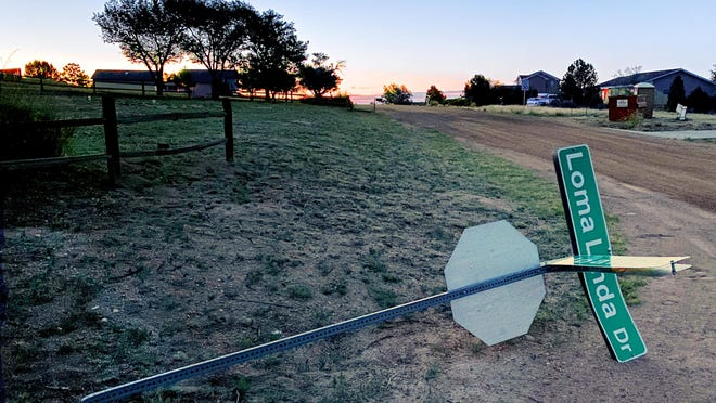 Vandals toppled numerous street sign/stop sign poles throughout the Pueblo West community recently.