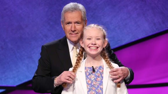 Eileen Bunch, 15, with 'Jeopardy!' host Alex Trebek