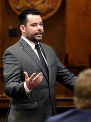 Defense attorney Scott Stebbins presents his opening statement during the start of trial for George Burch, who is accused of murdering Nicole VanderHeyden in May 2016, on Monday, Feb. 19, 2018 in Brown County Circuit Court.