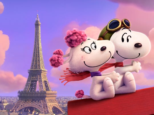 Fifi and Snoopy in 'The Peanuts Movie.'