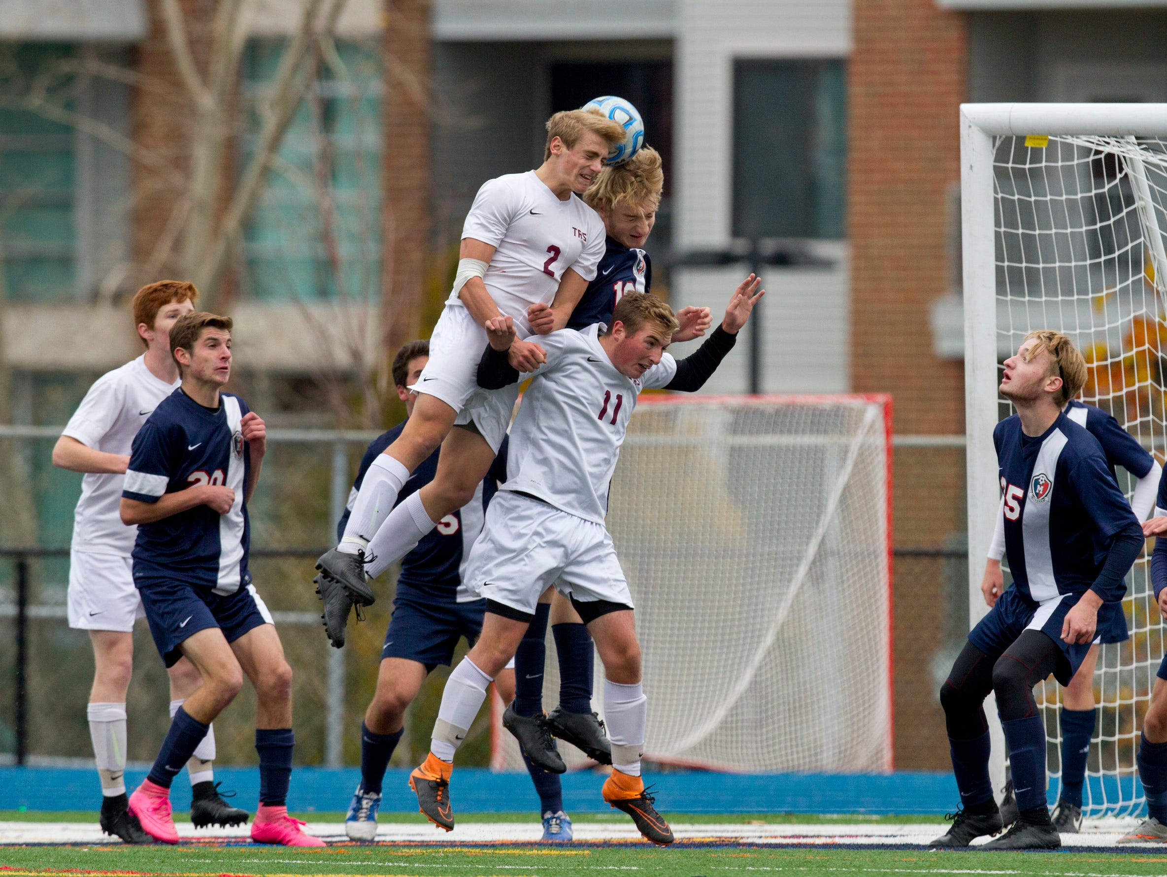 Toms River South's Dylan Parks tries to head the ball into goal. Toms River South Boys Soccer vs West Morris Mendham in NJSIAA State Group III Championship at Kean University on November 22, 2015 in Union, NJ.