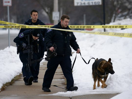 Police searched for a suspect after a reported armed robbery at Cartridge World in Appleton on Thursday afternoon.