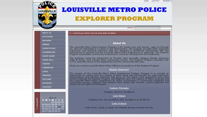 A screenshot of the Louisville Metro Police Explorer Program website on March 17.