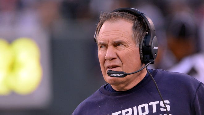 Dec 27, 2015; New England Patriots head coach Bill Belichick during the game against the New York Jets at MetLife Stadium.
