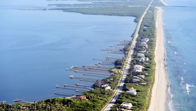 The Indian River Lagoon is seen from above in Indian River County. The state Legislature agreed Tuesday to fund a project to build a reservoir south of Lake Okeechobee to battle discharges that led to toxic blooms in the lagoon and the St. Lucie River.
