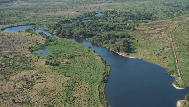 On a tour with the South Florida Water Management District, an aerial view of Kissimmee River Restoration Project is seen on March 24, 2017 in central Florida. The Kissimmee River Restoration Project, a joint effort by the South Florida Water Management District and the U.S. Army Corps of Engineers, is a plan to reverse the effects of a channelization of the river done in the 1960s. The channel damaged the ecosystem of the winding natural river, though it helped prevent severe flooding.