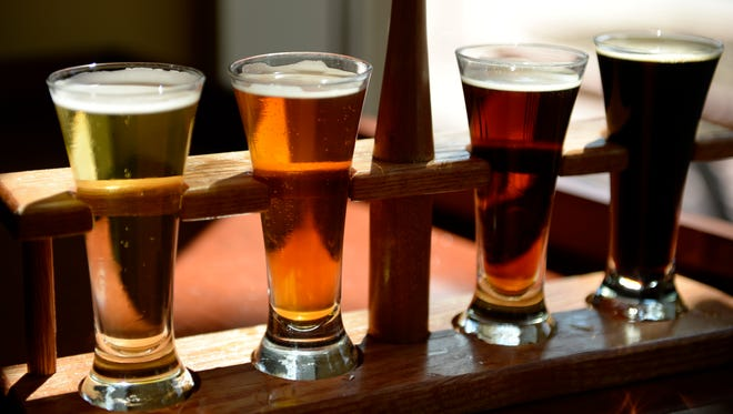 Samples of beer at the Mad Fox Brewing Co., in Falls Church, Va.