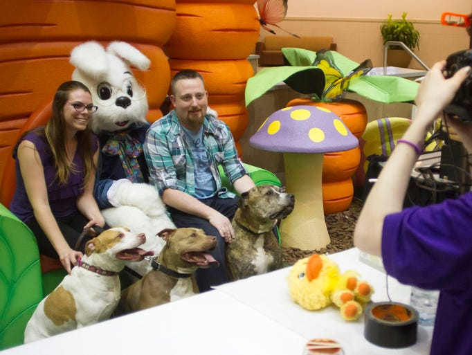 Leighann Bort and Brand Andreas sit with the Easter