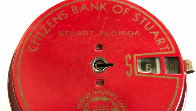 Citizen's Bank of Stuart encouraged customers, especially children, to save money with Add-O-Banks. They were available in variety of colors andcounted coins up to $20.