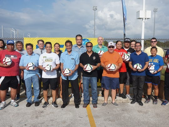 The Guam Football Association donated 350 new soccer balls to several public and private schools during an event at the GFA National Training Center on Thursday. The program was led by menÕs national team captain Jason Cunliffe, who personally delivered the balls to coaches, athletic directors and representatives from individual middle and high schools. Twenty-seven schools received the FIFA adidas Conext15 Glider balls, which will be used during interscholastic competitions and during practices. The balls, valued at around $30 each, were allocated to GFA by FIFA. Several of the coaches said events like this are the only time they get new balls for their schools, which otherwise have players bring their own balls from home to be used in practice.