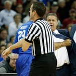 Feb 13, 2016; Columbia, SC, USA; Kentucky Wildcats head coach John Calipari reacts to be ejected on a second technical foul in the early minutes of the game between the South Carolina Gamecocks and the Kentucky Wildcats at Colonial Life Arena. Mandatory Credit: Jim Dedmon-USA TODAY Sports