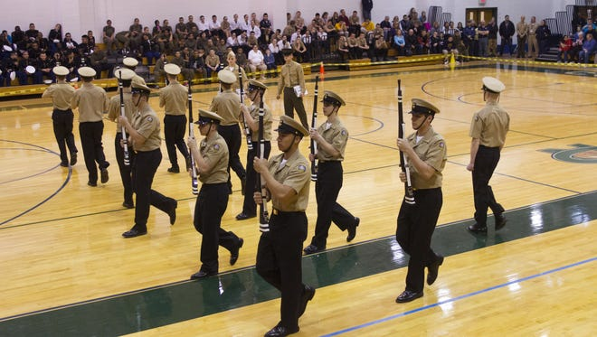 Colts Neck- Colts Neck ROTC Drill Team competes in a Regional Drill Team Competition at home in the Colts Neck High School gymnasium.
