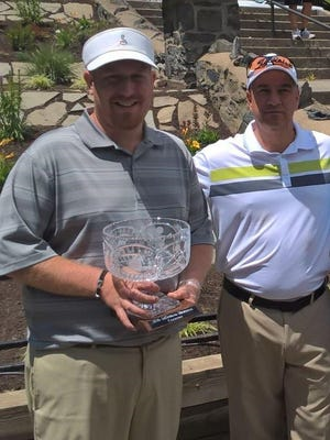 Mike Fisher, left, and Vince Benedetto pose together after Fisher defeated Brian Viola for the DeStefano Memorial Tournament Championship Flight title.