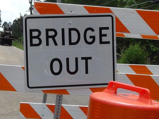 A warning sign and barricade is shown in this 2016 photo of a bridge under repair in Jackson, Miss.