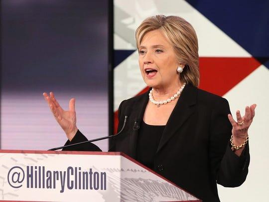 Democrat presidential contender Hillary Clinton