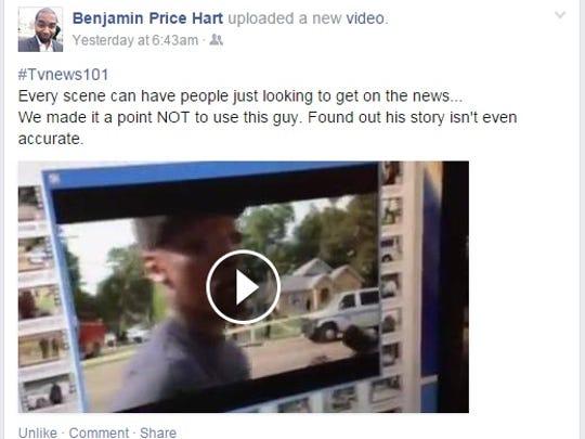 Facebook post from WAPT news director Ben Hart