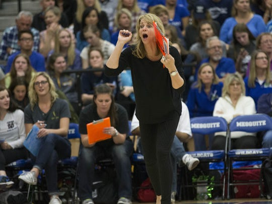 Desert Vista coach Molly West directs her team against Xavier Prep during the Div. I State Volleyball Championships in Gilbert November 10, 2015.