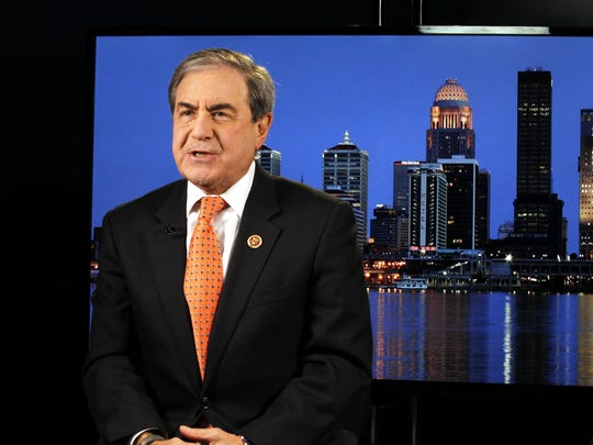 U.S. Rep. John Yarmuth, of Louisville, gets ready before going on TV with Chris Hayes of MSNBC.