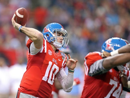 Ole Miss quarterback Chad Kelly threw for 4,042 yards and ran for 500 more last season. And he's got plenty of experienced receivers as targets.