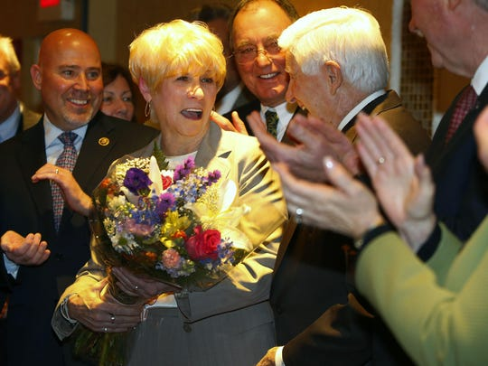 """Ocean County Freeholder-designate Virginia """"Ginny"""" Haines is surrounded by supporters and county Republican leaders following her appointment to the county's governing body on Tuesday night. Haines, 69, of Toms River, becomes only the second woman to serve on the Ocean County freeholder board since 1850. The first was Hazel Gluck who stepped down in 1979."""