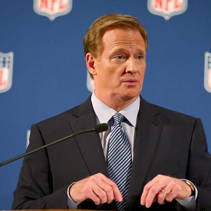 NFL commissioner Roger Goodell talks during a news conference Friday, Sept. 19, 2014, in New York.