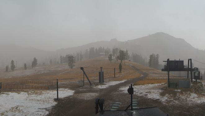 Squaw Valley Alpine Meadows saw its first flurries of snow Thursday.