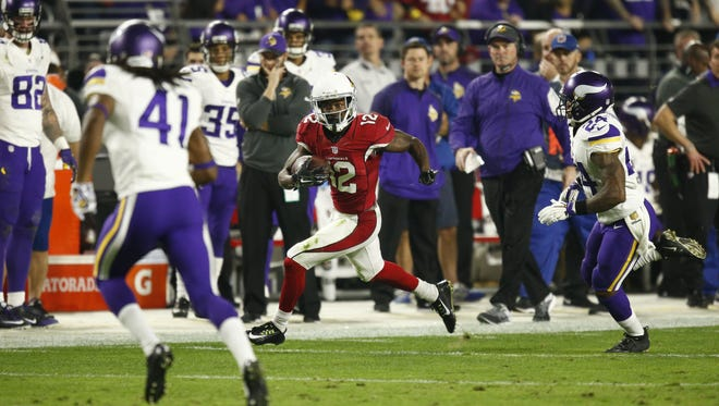 Arizona Cardinals wide receiver John Brown scores a touchdown against the Minnesota Vikings in the first half on Dec. 10, 2015 in Glendale, Ariz.