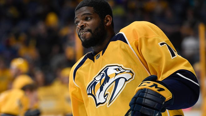 Predators defenseman P.K. Subban had 40 points in 66 games in his first season with the team.