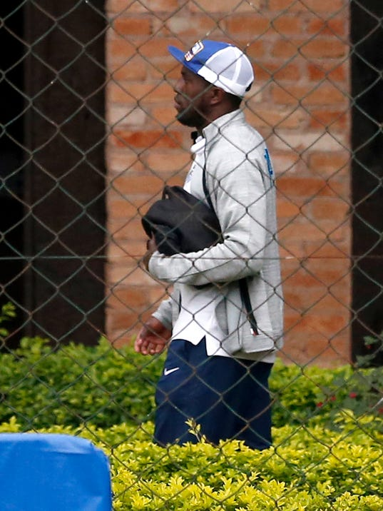 United States' Jozy Altidore arrives at Sao Paulo FC training center in Sao Paulo, Brazil, Friday, June 20, 2014. The U.S. will play against Portugal in group G of the 2014 soccer World Cup on June 22. (AP Photo/Julio Cortez)