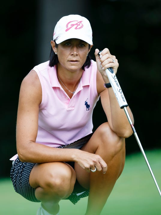 Laura Diaz lines up a putt on the sixth hole during the third round of the Marathon Classic LPGA golf tournament at Highland Meadows Golf Club in Sylvania, Ohio, Saturday, July 19, 2014. (AP Photo/Rick Osentoski)