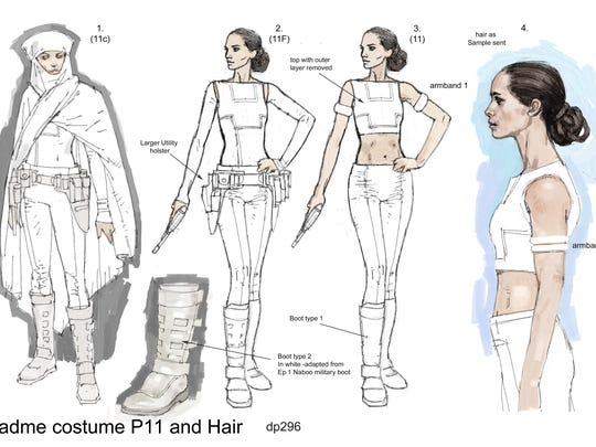 """Concept Art Padmé Amidala Geonosis Arena Costume concept art from """"Star Wars: Attack of the Clones."""""""