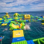 An inflatable playground is opening on Lake Michigan