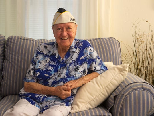 Pearl Harbor survivor John Gideon is shown in his North Fort Myers home on Tuesday, September 20, 2016.