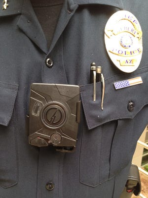 A body camera similar to this one might be tested by the Gilbert Police Department beginning next month.