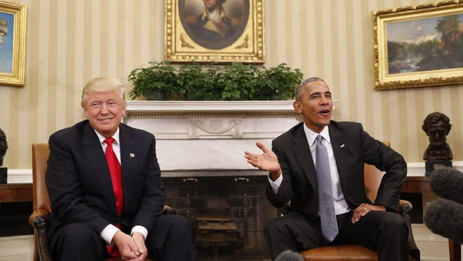 President Barack Obama meets with president-elect Donald Trump in the Oval Office of the White House in Washington on Thursday.